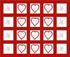 FABRIC PANEL~A YEAR OF LOVE~HENRY GLASS~VALENTINES~HEARTS~RED& WHITE~33 BY 44 IN