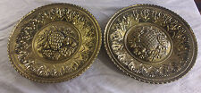 """Set of 2 Vintage Brass Repousse 12"""" Wall Chargers - Fruit, Pineapple -ENGLAND"""