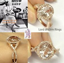 Unique 8x10mm Oval Pink Morganite Curved Diamonds Engagement Ring 14K Rose Gold