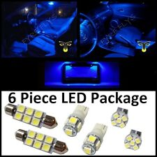 6 Blue LED interior lights package T10 & 42mm map dome + license plate lamp G2B