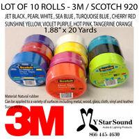 """Duct Tape 10 Rolls / 10 Colors 3M 1.88"""" x 20 Yards Scotch 3M 920 Multi Color Lot"""