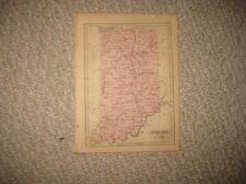 FINE ANTIQUE 1857 INDIANA HANDCOLORED MAP RAILROAD INDIANAPOLIS SUPERB RARE NR
