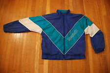Vintage REEBOK SPORT purple teal blue white lined 90s windbreaker Mens jacket L