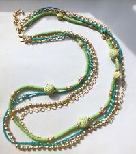 CHICO'S Long 4 Strand Necklace RITA Lime Green Turquoise Gold NWOT Signed