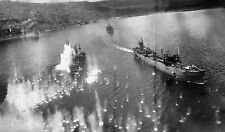 WWII Photo B-25 Mitchell Attacks Japanese Ships in Harbor Rabaul  WW2 B&W / 5185