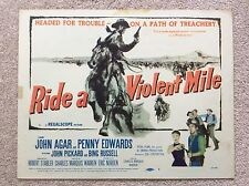 RIDE A VIOLENT MILE Original WESTERN Lobby Card JOHN AGAR PENNY EDWARDS