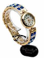 INFINITY:WOMEN'S FULL DIAMOND/BLUE COLOR STONES GOLD FINISH ANALOG QUARTZ WATCH