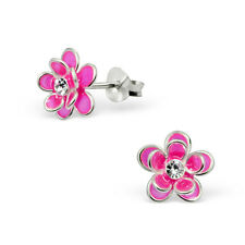 925 Sterling Silver Pink Double Flower Kids Girls Women Stud Earrings Jewellery