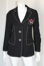 Rena Lange Black Textured Cotton White Topstitch Crested Blazer Jacket 8 6 S M