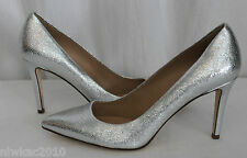 J CREW EVERLY CRACKLED METALLIC SILVER LEATHER PUMPS 10 NEW