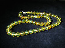 NECKLACE DOMINICAN NATURAL STONES AMBER 925 SILVER BEADS 9.54 MM (23.5 G)#861