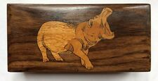 Vintage Trinket Hippo Pure Rose Wood HandCrafted Not Used Storage Jewelry Box