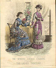 1880 superb colour plate - french fashions designed for the ladies treasury .263