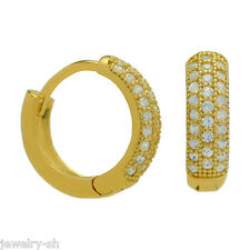14k Gold Plated 12mm Huggie Hoop Micro Pave Earrings on 925 Sterling Silver