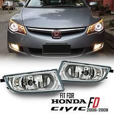 Honda Civic FD SEDAN 06 07 08 Chrome Fog Driving Spot Light Lamp Clear Len Kit