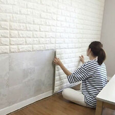 3D DESIGN QUALITY WASHED WHITE BRICK WALL EFFECT FEATURE WALLPAPER !