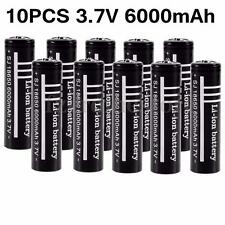 New 10x 3.7V 18650 Li-ion 6000mAh Rechargeable Battery for Flashlight Lamp Torch