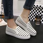 Women Casual Slip On Shoes Canvas Striped Loafers Boat Espadrille Pump Flats