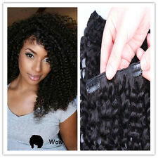 "10"" 120g 10pcs #1B Full Head Remy Kinky Curly Afro Clip In Human Hair Extensions"