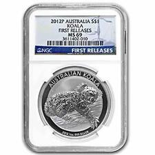 New 2012P Australian Silver Koala 1oz First Releases NGC MS69 Graded Slab Coin