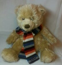 "16"" Aeropostale Plush TanTeddy Bear w/ Striped Multi Color Knit Scarf- Stuffed"
