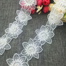 New 1 Yards 2-layer 55mm Embroidered Flower Applique Pearl Core Lace Trim #SUK05