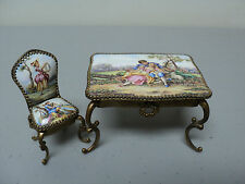 ANTIQUE AUSTRIAN VIENNA ENAMEL & GILT METAL MINIATURE DESK & CHAIR
