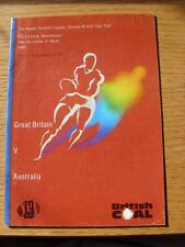 10/11/1990 Rugby League Programme: Great Britain v Australia [At Manchester Unit
