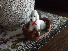 Vintage POODLE DOG in Basket Flocked Animal Kunstlerschutz Germany Toy Ornament