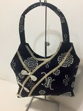 Navy Fabric Shoulder Tote Bag With Chinese Design Thin Profile