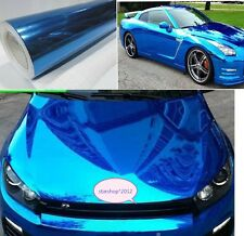 "* 12""x 60""Blue Car Decal  Mirror Chrome Sheet Wrap Vinyl Decal Sticker Film"