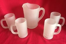 Vintage FROSTED BEER PITCHER & 4 MUGS Set Heavy Frost Glass Bar ROOTBEER