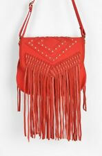 Urban Outfitters Deena & Ozzy Red  Studded Fringe Crossbody Bag Leather Suede