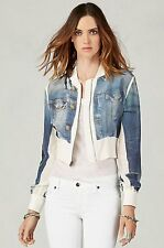 NEW TRUE RELIGION $198 DENIM PRINTED SILK JACKET  SZ M MEDIUM