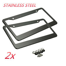 2Pcs Metal Stainless Steel License Plate Frames W/ Screw Caps Tag Cover