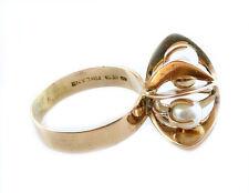 SUPERB Vintage 1950s 60s Elis Kauppi Finland Modernist 14K Gold & Pearls RING 9