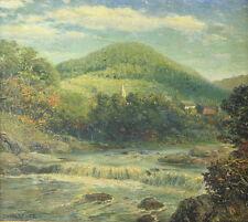 Tyler, James Gale (American, 1855-1931) Oil painting Landscape with river, town