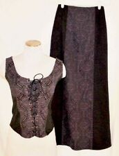 Vtg HT Morbid Threads 2XL Purple Black Brocade Corset Skirt Steampunk Cosplay
