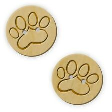 12 x 23mm 'Cat Paw' Round Wooden Buttons (BT00000973)