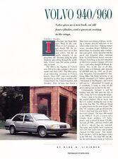 1991 Volvo 940 and 960 Sedan Original Car Review Print Article J449