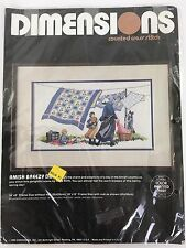 Dimensions Vintage AMISH BREEZY DAY Counted Cross Stitch KIT - 1980's Vera Kirk