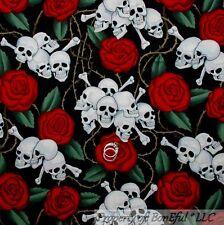 BonEful Fabric FQ Cotton Quilt Red Black White B&W Skull Harley Rose Flower Bone