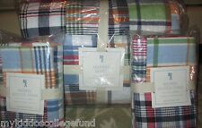 NWT Pottery Barn Kids Madras FQ quilt & 2 std shams full queen f/q multi