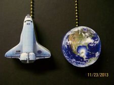 (2) Space Shuttle and Earth Ceiling Fan Pulls