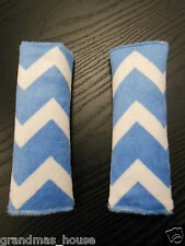 Baby Seat Belt Strap Covers Car Highchair Stroller- Blue Minky Chevron MUST SEE