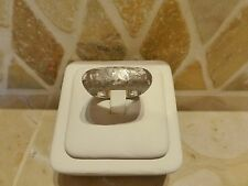 Vintage Italy modernist 18k white gold textured wide saddle band ring hammered