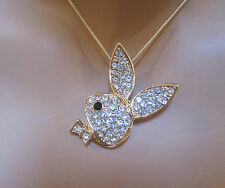 "New Hot Celebrity Crystal Playboy Bunny 1""X1.5"" Pendant Gold Necklace"