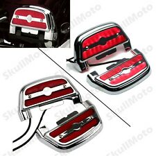 Lighted Passenger Footrest Footboard Cover Kit For Harley Touring Chrome Red