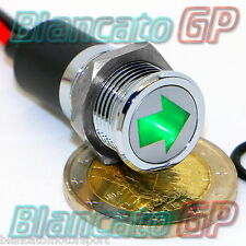 SPIA LED 14mm CON SIMBOLO FRECCIA metallo 12V lamp arrow indicator light VERDE