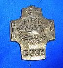 Vintage German Christianity Brass or Bronze CROSS E. Weinert Time #I7